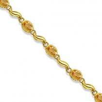 Bezel-Set Oval Citrine Bracelet in 14K Yellow Gold (7x5 mm)