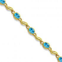 Bezel-Set Oval Blue Topaz Bracelet in 14K Yellow Gold (7x5 mm)