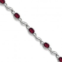 Bezel-Set Oval Garnet Bracelet in 14K White Gold (7x5 mm)
