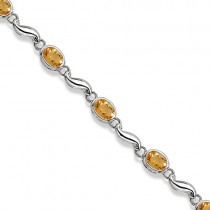 Bezel-Set Oval Citrine Bracelet in 14K White Gold (7x5 mm)