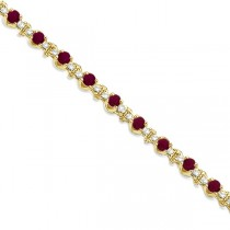 Round Ruby & Diamond Tennis Bracelet 14k Yellow Gold (2.50ct)