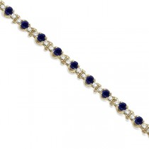 Round Blue Sapphire & Diamond Tennis Bracelet 14k Yellow Gold (2.50ct)