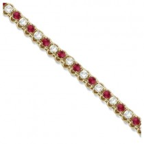 Round Ruby & Diamond Tennis Bracelet 14k Yellow Gold (4.75ct)