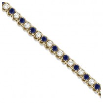 Round Blue Sapphire & Diamond Tennis Bracelet 14k Yellow Gold (4.75ct)