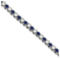 Round Blue Sapphire & Diamond Tennis Bracelet 14k White Gold (4.75ct)