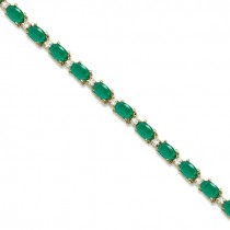 Emerald & Diamond Tennis Bracelet 14k Yellow Gold (12.00ct)