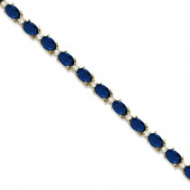 Blue Sapphire & Diamond Tennis Bracelet 14k Yellow Gold (12.00ct)