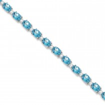 Blue Topaz & Diamond Tennis Bracelet 14k White Gold (12.00ct)