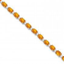 Citrine & Diamond Tennis Link Bracelet 14k White Gold (12.00ct)
