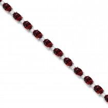 Garnet & Diamond Tennis Link Bracelet 14k White Gold (12.00ct)