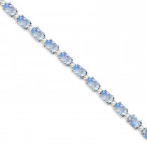 Moonstone & Diamond Tennis Bracelet 14k White Gold (12.00ct)