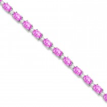 Pink Sapphire & Diamond Tennis Bracelet 14k White Gold (12.00ct)