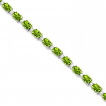 Peridot & Diamond Tennis Bracelet 14k White Gold (12.00ct)