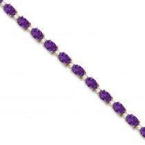 Amethyst & Diamond Tennis Bracelet 14k Yellow Gold (12.00ct)