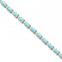 Aquamarine & Diamond Tennis Bracelet 14k Yellow Gold (12.00ct)