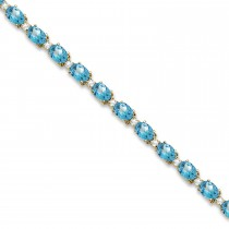 Blue Topaz & Diamond Tennis Bracelet 14k Yellow Gold (12.00ct)