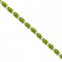 Peridot & Diamond Tennis Bracelet 14k Yellow Gold (12.00ct)