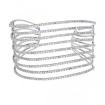Luxury Diamond Wide Cuff Bracelet 14k White Gold (8.84ct)