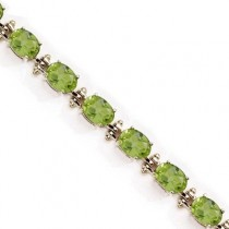 Oval Peridot Link Bracelet 14k Yellow Gold August Birthstone (13.60 ctw)
