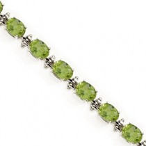 Oval Peridot Link Bracelet 14k White Gold August Birthstone (13.60ctw)