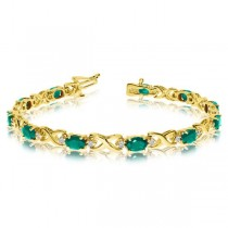 Oval Emerald & Diamond XOXO Link Bracelet 14k Yellow Gold (7.00ctw)