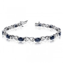 Oval Sapphire & Diamond XOXO Link Bracelet 14k White Gold (7.00ctw)