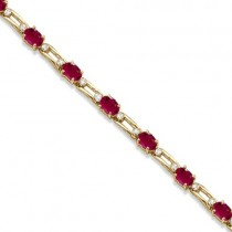 Diamond & Oval Cut Ruby Link Bracelet 14k Yellow Gold (7.50ctw)