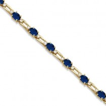 Diamond & Oval Blue Sapphire Link Bracelet 14k Yellow Gold (7.50ctw)
