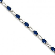 Diamond & Oval Blue Sapphire Link Bracelet 14k White Gold (7.50ct)