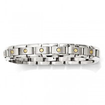 Men's Titanium Link Bracelet w 14k Inlay Accents