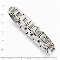 Men's Titanium Link Bracelet w 14k Inlay Accents