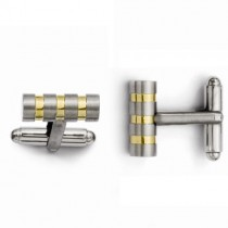 Triple Ring Gold over Titanium Cuff Links