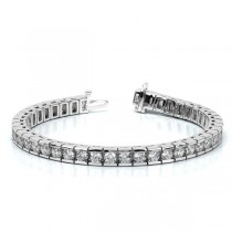 Ladies Channel Set Round Diamond Tennis Bracelet 14k White Gold 6.00ct