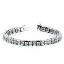 Ladies Channel Set Round Diamond Tennis Bracelet 14k White Gold 6.50ct