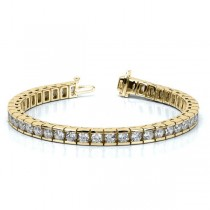 Ladies Channel Set Round Diamond Tennis Bracelet 14k Y. Gold 6.50ct