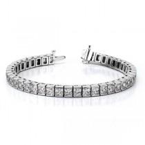 Channel Set Princess Cut Diamond Tennis Bracelet 14k White Gold 8.50ct