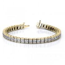Channel Set Princess Cut Diamond Tennis Bracelet 14k Y Gold 8.50ct