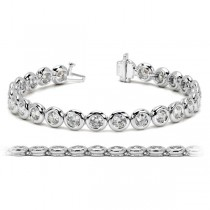 Ladies Bezel Set Round Diamond Tennis Bracelet 14k White Gold 2.50ct