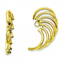 Angle Wing Shaped Earring Jackets in Plain Metal 14k Yellow Gold