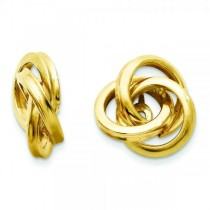 Love Knot Earring Jackets in Plain Metal 14k Yellow Gold