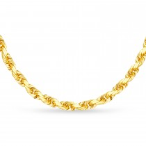 Rope Chain Necklace With Lobster Lock 14k Yellow Gold