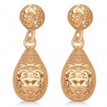 Textured Dangle Teardrop Earrings in 14k Rose Gold