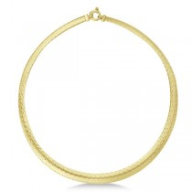 Graduated Domed Mesh Omega Chain Necklace 14k Yellow Gold