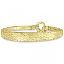 Domed Mesh Omega Chain Bangle Bracelet 14k Yellow Gold