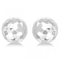 Half Disco Ball Hammered Stud Earrings 14k White Gold