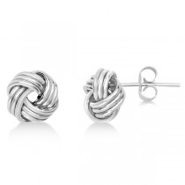 Triple Row Love Knot Stud Earrings in 14k White Gold