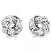 Triple Row Love Knot Stud Earrings in 14k White Gold