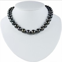 Tahitian Pearl Graduating Strand Necklace 14K Gold Clasp 11-14.6mm