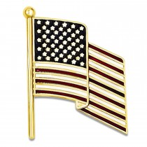 Enameled United States American Flag Pin Charm 14k Yellow Gold