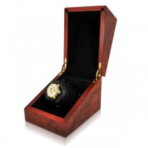 Orbita Cube Single Watch Winder in Deluxe Burl Wood